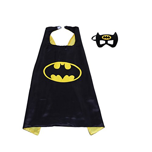 Superhero Cape and Mask Set Kids Children Costumes for Halloween Christmas Birthday Party (Batboy)