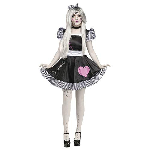Fun World Costumes Women's Broken Doll Adult Costume, Black/White, Small/Medium