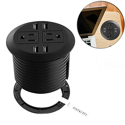 Desktop Power Grommet with USB,Hidden Power Socket. Desk Hole Grommet Outlet,Easy Access to 2 power Source Along with 4 USB Power Port Connections (Flush Mount Grommet)