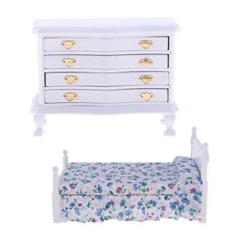Fenteer Doll House Miniature Furniture Blue Flower Single Bed and Cabinet Set for 1:12
