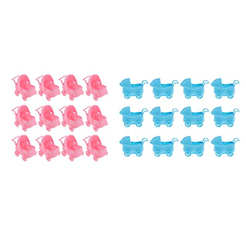 Carriage Baby 3 Shower 24 - SM SunniMix Pieces of 24 Plastic Baby Carriage Wagon Favors Baby Shower Decor 3'' Pink+Blue