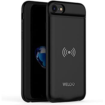 WELUV Wireless Charging Case Ultra Slim Battery Case 3000mAh Compatible with iPhone 8 7 6s 6 Rechargeable Cover Qi Standard Wireless Charger Extended ...