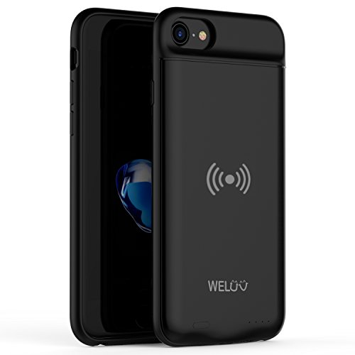 WELUV Wireless Charging Case Ultra Slim Battery Case 3000mAh Compatible with iPhone 8 7 6s 6 Rechargeable Cover Qi Standard Wireless Charger Extended Backup Protective Shell 4.7''