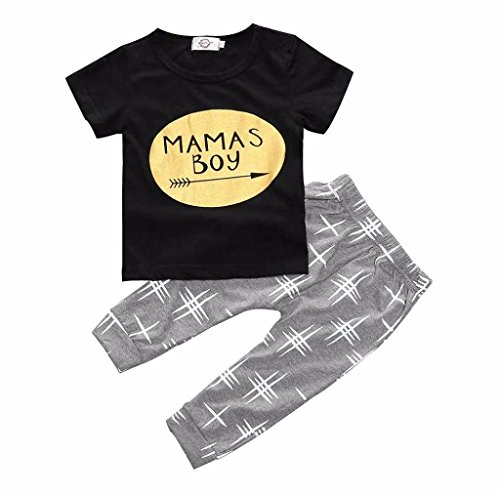 Morecome 1 Set Baby Boy Clothes T-shirt Tops and Pants (12M, Black)