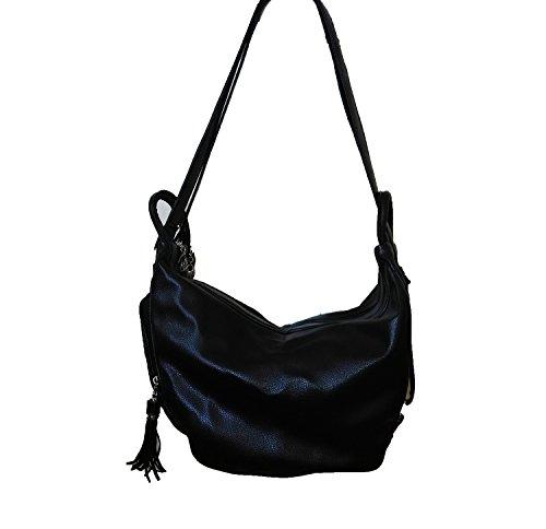 DI GRAZIA 2 Way Convertible Hobo Tassel Womens Shoulder Sling Handbag Backpack - Black