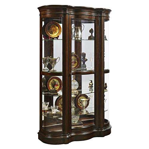 Transitional Curio Cabinet - Sofaweb.com Brown Mid-Tone Shaped Front Curio Cabinet