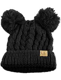 763c2980ba7 Kids Ages 2-7 Pom Pom Ears Chunky Thick Stretchy Knit Soft Beanie Hat