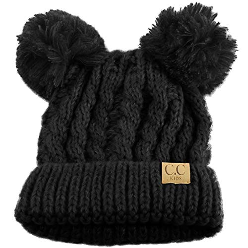 Kids Ages 2-7 Pom Pom Ears Chunky Thick Stretchy Knit Soft Beanie Hat Solid Black ()