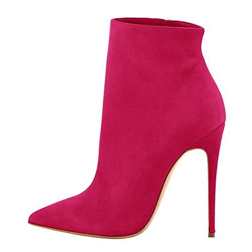 Pour Pom Capuchon Robe Talons Onlymaker Hauts Pointu Rouge Rose Femmes Bout Bottines TRwOqfIa