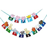 Happy Birthday Bunting Banner Cartoon Peppa Pig Hanging Birthday Flag Decorations