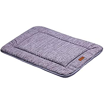 QIAOQI Dog Bed Kennel Pad Waterproof Crate Mat Grey30-In| Washable Orthopedic Antislip Beds w/Dense Memory Foam Cushion Padding Bolster | Perfect Sleep Bedding Pads for Carrier Cage
