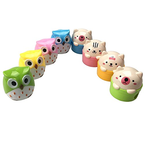8pcs Lovely Cute Cartoon Animal Pussy Cat Owl Pencil Sharpeners with Double Sharpener Holds for Kids -