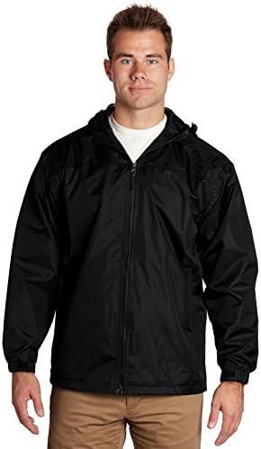 Cimno Mens Windbreaker Jacket Hooded Letters Printed Elastic Bottom Long Sleeve Zip Up Jackets