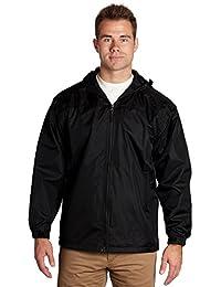 Windbreaker Male Jacket - Lined Hooded Pockets - Black, 2XL - éb79
