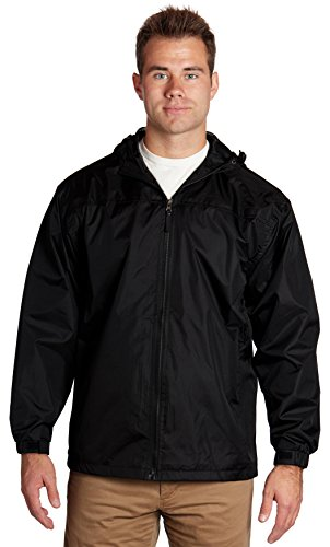 Wholesale Unisex Polyester Hooded Lined Windbreaker Jackets - Black, 2X-Large