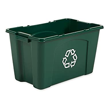 Rubbermaid Commercial FG571873GRN Stackable Recycling Box, 18-gallon, Green