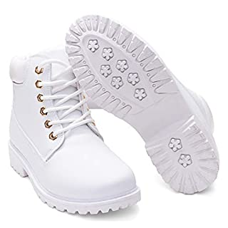 DADAWEN Women's Lace Up Low Heel Work Combat Boots Waterproof Ankle Bootie White US Size 9