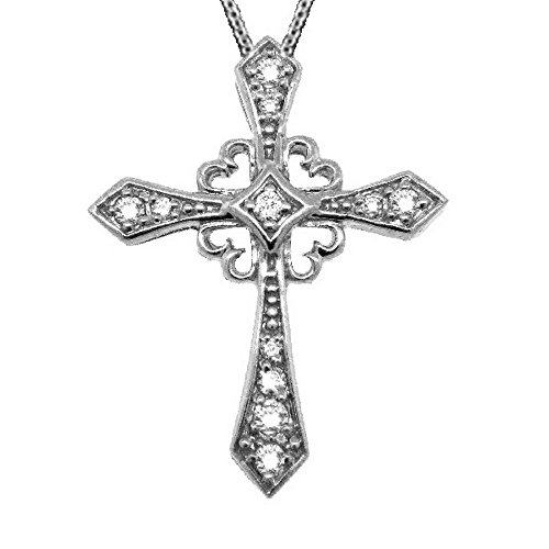 Antique Style Diamond Cross Pendant Necklace 14k White Gold (0.25ct) ()