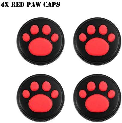 HTBG 任天堂スイッチゲームアクセサリー用シリコーン滑り止め保護スキンケースカバーグリップジョイスティックキャップシェルラップコンソールバンパー (Color : 4X Red Paw Caps)