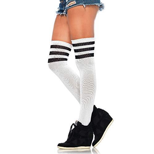 Leg Avenue Womens Three Striped Athletic Ribbed Thigh Highs -