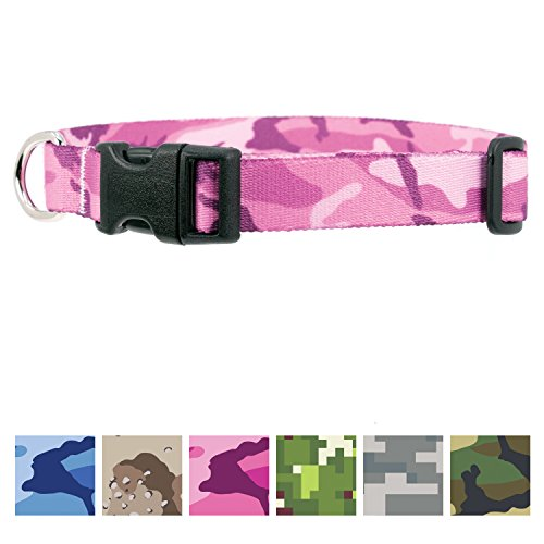 Buttonsmith Pink Camo Dog Collar - Fadeproof Permanently Bonded Printing, Military Grade Rustproof Buckle, Resistant to Odors & Mildew, Choice of 5 Sizes, Made in The USA