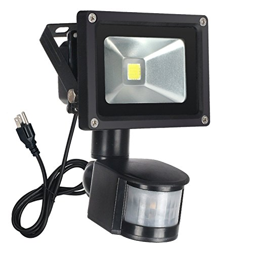 FAISHILAN Motion Sensor Flood Light 10W LED IP65 Waterproof Security Lights 6000K, 1500 Lumen, US 3-Plug Outdoor Wall Light