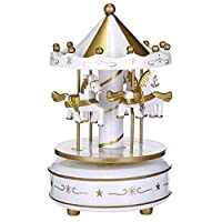 Glumes Music Box for Carousel Laxury Carousel Music Box, Merchandise Classic Musical Box 4-Horse Moving Up and Down Best Birthday Gift for Kids, Girls,Friends