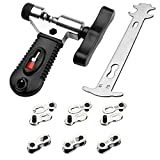 SINGARE Multi-Function Bike Bicycle Cycling Mechanic Repair Kit - Chain Breaker and Chain Checker Include 6 Pairs Bicycle Missing Link for 6, 7, 8, 9, 10 Speed Chain, Reusable