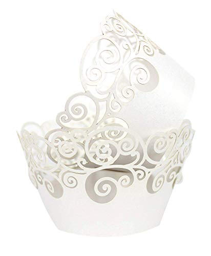 KEIVA Cupcake Wrappers 60 Filigree Artistic Bake Cake Paper Cups Little Vine Lace Laser Cut Liner Baking Cup Muffin Case Trays for Wedding Party Birthday Decoration (White)