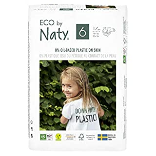Eco by Naty, Size 6, 102 Diapers, 35+ lbs, ONE MONTH supply, Plant-based premium ecological diaper with 0% oil plastic on skin