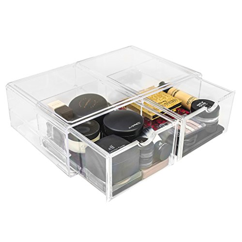 (Sorbus Acrylic Cosmetics Makeup and Jewelry Storage Case X-Large Display Sets -Interlocking Scoop Drawers to Create Your Own Specially Designed Makeup Counter -Stackable and Interchangeable )