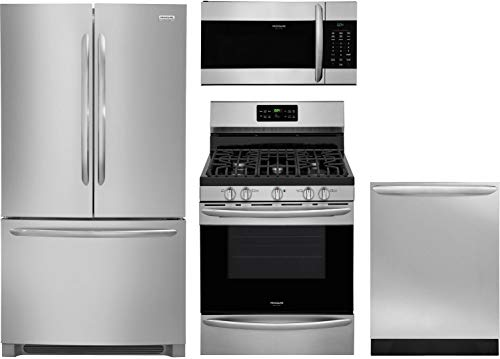 "4 Piece Kitchen Appliance Package with FGHN2868TF 36"" Fridge, FGGF3036TF 30"" Gas Range, FGMV176NTF 30"" Over the Range Microwave and FGID2466QF 24"" Built In Fully Integr.Dishwasher in Stainless Steel"