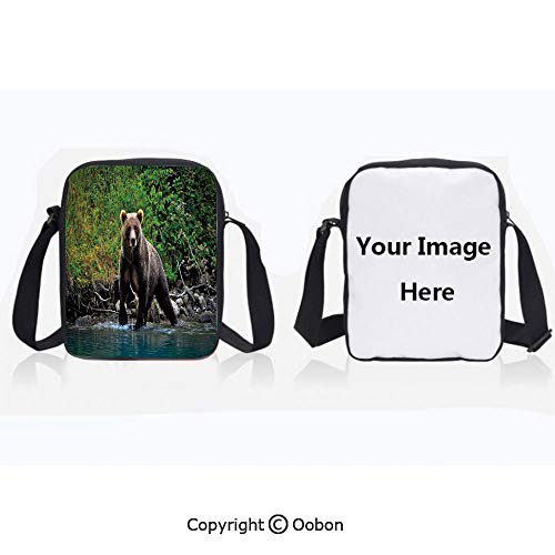 Polyester Anti-Theft Cross-Body Bag Unisex Adult Grizzly Brown Bear in Lake Alaska Untouched Forest Jungle Wildlife Image Decorative Green Brown Blue Zipper Bucket Anti Theft Bag For ()