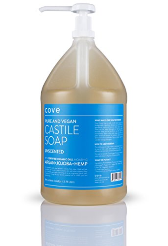 (Cove Castile Soap - Unscented 128 oz / 1 Gallon - Includes Pump - Organic Argan, Hemp, Jojoba Oils)
