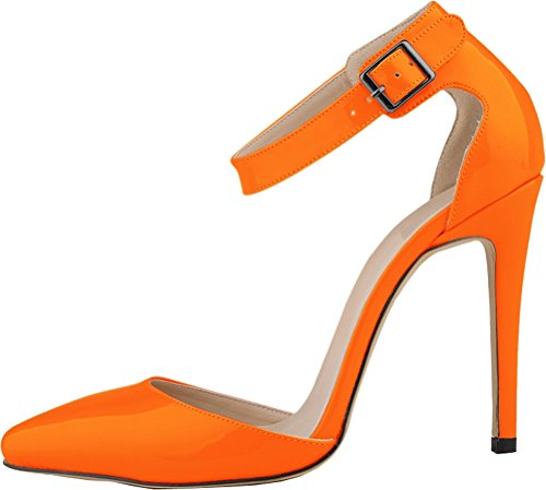 Salabobo Womens All Match Sexy Fashion OL Work Dress Pionted-toe Stiletto PU Pumps Orange ZIxMgrRh5i