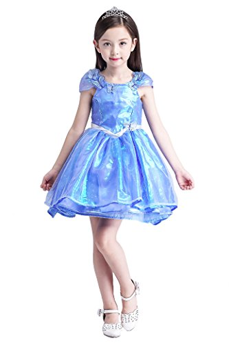 [YMING Girls Princess Blue Cosplay Dress Christmas Halloween Mermaid Costume 5-6 Years] (Flower Zombie Costumes For Girls)