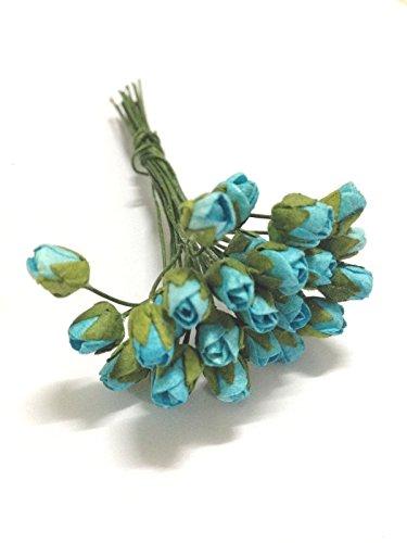 - 100 Mini Blue Rose Bud Mulberry paper flowers - Wedding, Scrapbook, Card Making
