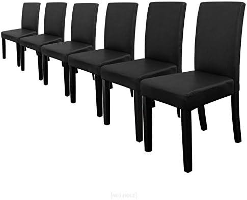 [en.casa] 6 sedie imbottite (nero opaco) (Ottima qualità) con piedi in legno massellorivestimento in similpelleelegante