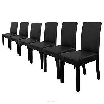 [en.casa]®] 6 sillas tapizadas (negro) (alta calidad) con patas de madera maciza/piel sintética/elegante / Set ahorro