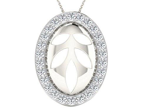 Libertini Pendentif argent 925 serti de Diamant en forme de Ovale
