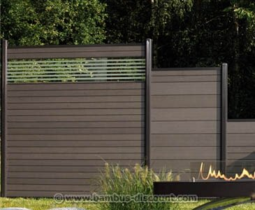 Amazon De Bambus Discount Com Wpc Zaun Glasprofil Hoch 180x30cm