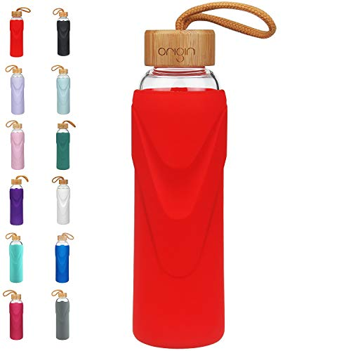ORIGIN - Best BPA-Free Glass Water Bottle with Protective Silicone Sleeve and Bamboo Lid - Dishwasher Safe - 32 Ounce (Fire Red) 32 Ounce Bubble Bottle