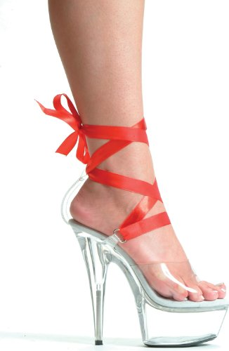 Heel Color Different BELLA Women's Clear Platform Shoes Ellie 7 with Ribbons 6