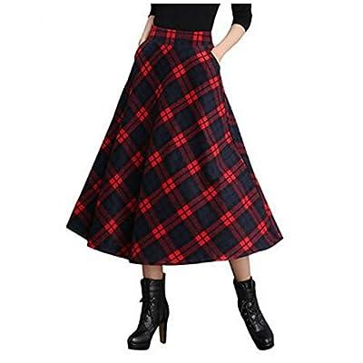 Hangang Women's High Waist A-Line Flared Plaid Long Skirt Winter Fall Warm Woollen Skirt Maxi Skirts for Women