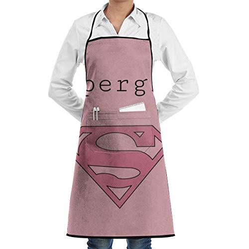 Duwamesva Kitchen Apron- Supergirl Print, Restaurant Coffee Shop Bib Aprons with Big Pocket