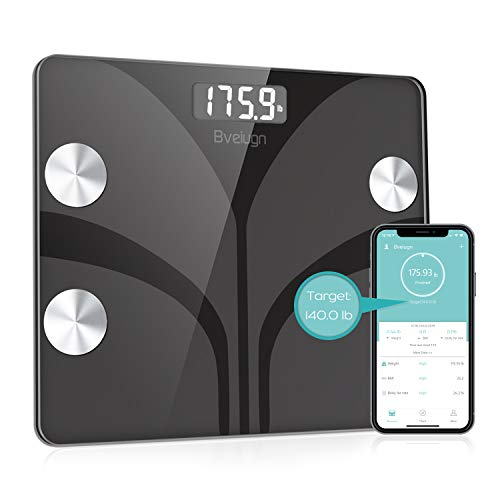 Body Fat Scale, Bveiugn Smart Wireless Digital Bathroom BMI Weight Scale, Body Composition Analyzer Health Monitor with Tempered Glass Platform Large Digital Backlit LCD with Smartphone - Body Automatic