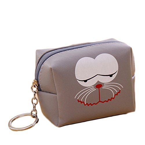 Clutch Coin Leather Wallet Keyring Gray Patern Faux Purse Women Girl's with Face Light Mini Bag Sukisuki Cartoon Gift Zipper Sx17wqn