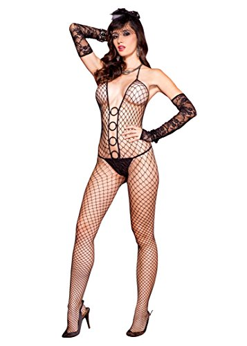 O-ring Halter Neck (MUSIC LEGS Women's Halter Neck Diamond Net Bodystocking with O-Rings Accent, Black, One Size)