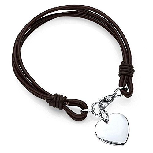 Personalized Leather Heart Charm Bracelet Free Engraving
