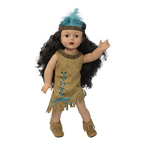18 inch Doll Clothes | Native American Indian Costume | American Girl Doll Costume Fits Kaya | Dress with Fringe | Embellished Trim | Boots | Headband |Designed in USA for American Girl 18 inch Dolls